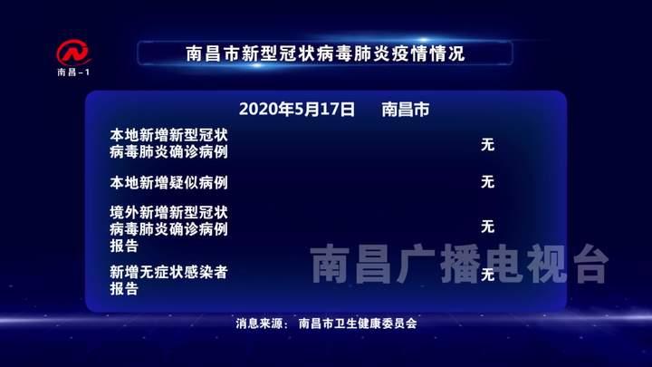 2020年5月17日南昌市新型冠狀病毒肺炎疫情情況